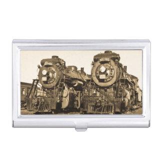 """Twins"" Canadian National Railroad Locomotives Business Card Holder"