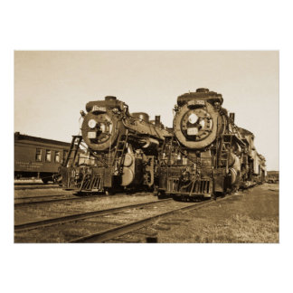"""Twins"" Canadian National Railroad Locomotives Poster"