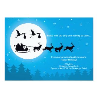 TWINS Christmas Card Pregnancy Announcement- Town