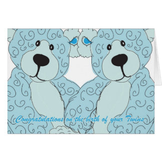 Twins Congratulations Teddy Bear in blue Card