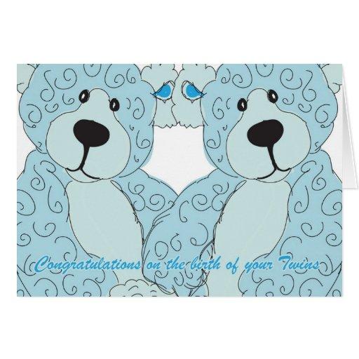 Twins Congratulations Teddy Bear in blue Cards