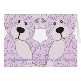 Twins Congratulations Teddy Bear in pink Greeting Card