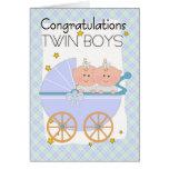 Twins - Congratulations Twin Boys In A Pram Greeting Card