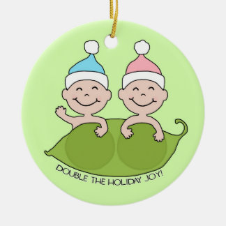 TWINS: Double the Holiday Joy! Round Ceramic Ornament