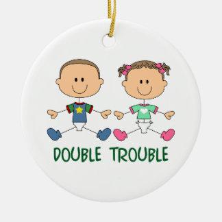 TWINS DOUBLE TROUBLE CERAMIC ORNAMENT