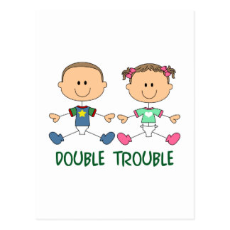 TWINS DOUBLE TROUBLE POSTCARD