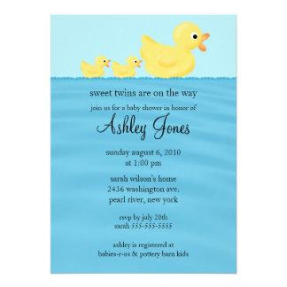 Twins Duck Baby Shower Invite