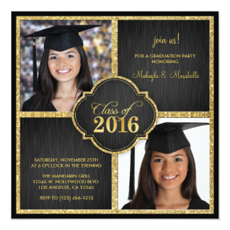 Twins! Elegant Black & Gold Glitter Class of 2016 Card