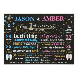 Twins first birthday chalkboard sign poster