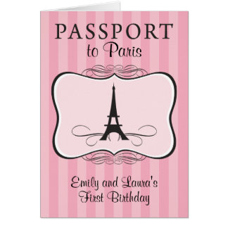 Twins First Birthday Paris Passport Invitation