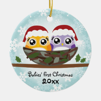 Twins First Christmas Owl Ornament
