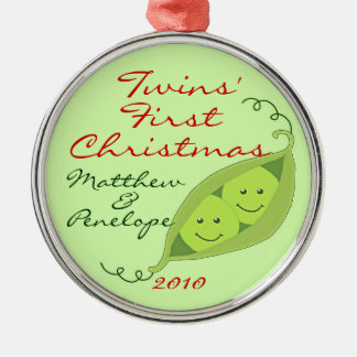 Twins' First Christmas Personalized Ornament