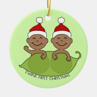 TWINS' FIRST CHRISTMAS ROUND CERAMIC ORNAMENT