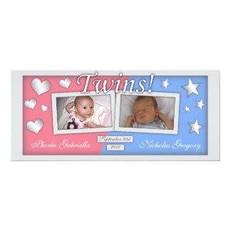 "Twins Girl & Boy Birth Announcements 4"" X 9.25"" Invitation Card"