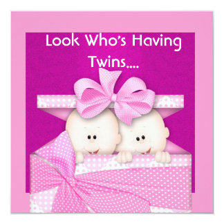 TWINS GIRLS BABY SHOWER  INVITATION