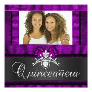 "Twins Girls Purple Quinceanera 15th Birthday 5.25"" Square Invitation Card"