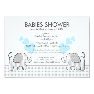 """Twins Gray Gingham Blue Baby Shower 5"""" X 7"""" Invitation Card"""