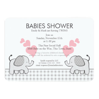 """Twins Gray Pink Gingham Baby Shower 5"""" X 7"""" Invitation Card"""