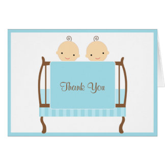 Twins in Blue Crib Note Cards