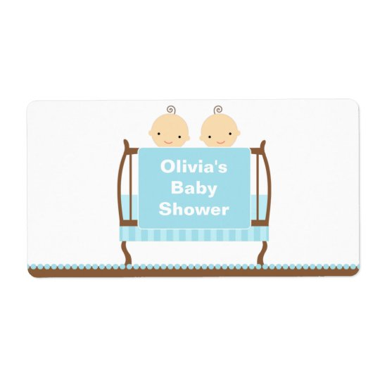 Twins in Blue Crib Water Bottle Label Shipping Label