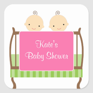 Twins in Pink Crib Stickers