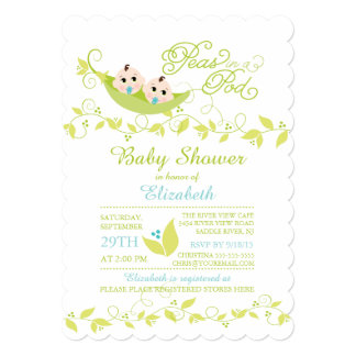 Twins Little Peas Boys Baby Shower Invitation