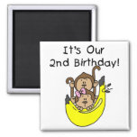 Twins Monkey Boy and Girl 2nd Birthday Magnets