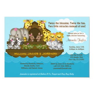 "TWINS Noah's Ark Baby Shower Invitation 5"" X 7"" Invitation Card"