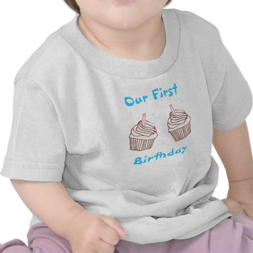 Twins Our First Birthday Cupcake Toddler Tee