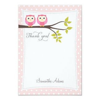 Twins Owls Thank You Card (Pink)