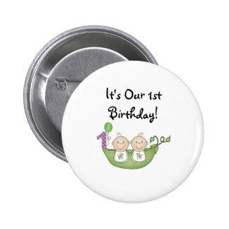Twins Peas in a Pod  First Birthday 2 Inch Round Button
