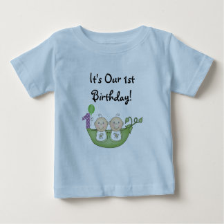 Twins Peas in a Pod  First Birthday Baby T-Shirt