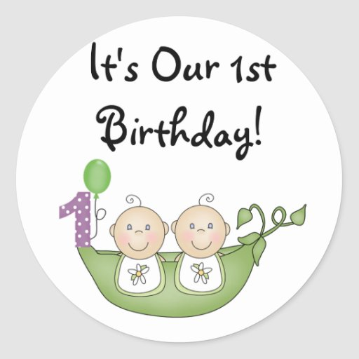 Twins Peas In A Pod First Birthday Classic Round Sticker