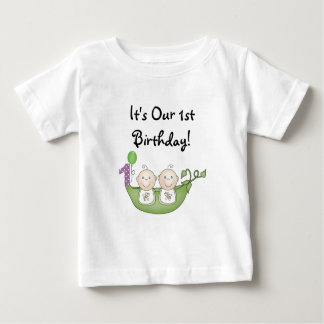 Twins Peas in a Pod  First Birthday Shirt