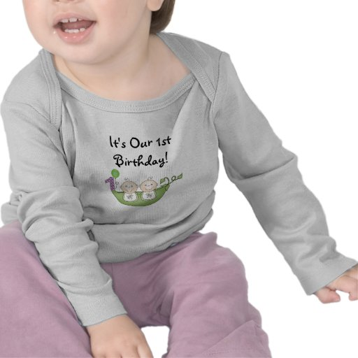 Twins Peas in a Pod  First Birthday Tees