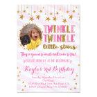 Twins Photo Twinkle Little Stars Birthday Invite