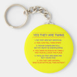 Twins Questions Fraternal Yellow Key Chain