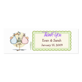 Twins Stork Favor Tag Double-Sided Mini Business Cards (Pack Of 20)