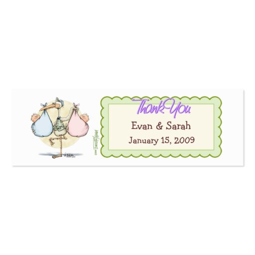 Twins Stork Favor Tag Business Card Template