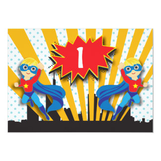 "Twins Superhero Birthday  |  Blonde 5"" X 7"" Invitation Card"