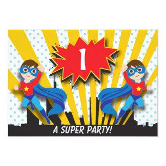 "Twins Superhero Birthday     Boys Brown Hair 5"" X 7"" Invitation Card"
