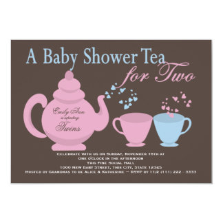 """Twins Tea Party Baby Shower 5"""" X 7"""" Invitation Card"""