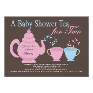 Twins Tea Party Baby Shower Custom Announcement