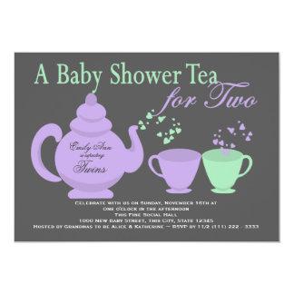 "Twins Tea Party Purple Green Baby Shower 5"" X 7"" Invitation Card"