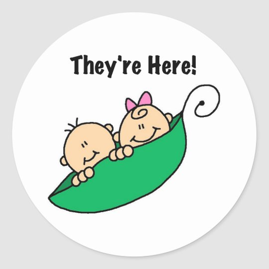 Twins They're Here Classic Round Sticker