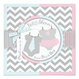 """Twins Tie Tutu Chevron Baby Shower 5.25"""" Square Invitation Card"""