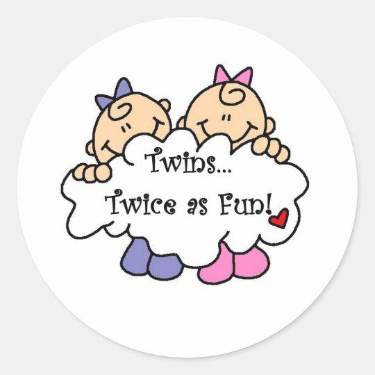 Twins Twice as Fun Classic Round Sticker