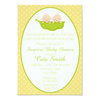 Twins Two Peas in a Pod Baby Shower Invitation