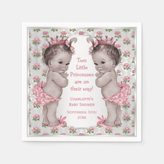 Twins Vintage Princess Roses Silver Baby Shower Disposable Napkin