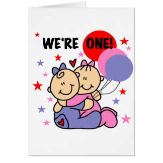 Twins We're One Birthday Tshirts and Gifts Greeting Card